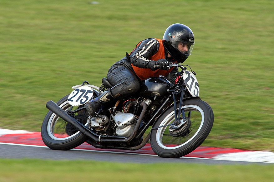 Richard at the September Cadwell meeting in 2008 (or 2009?) on the Triumph. 680cc motor fitted.
