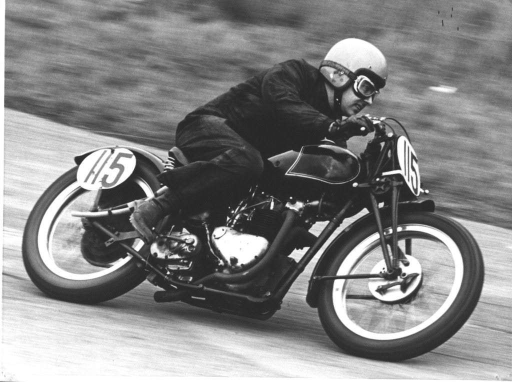 Roger on the Triumph  with 680cc motor in mid 1970's rounding Mansfield corner at Cadwell Park