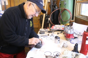 Roger working on a customers engine.
