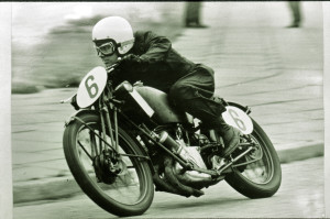 Roger on the Scott Super Squirrel racer (around 1971/2) racing at the New Brighton circuit on the Wirral.