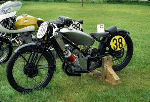 Super Squirrel racer, prior to frame modifications (around 1971/2). Note Roger's Laverda SF750 production racer with race kit. An unusual racing stable.