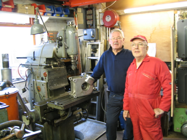 Eddie Shermer, Roger and Thiel 158 universal jig mill. They were smiling until the photo!